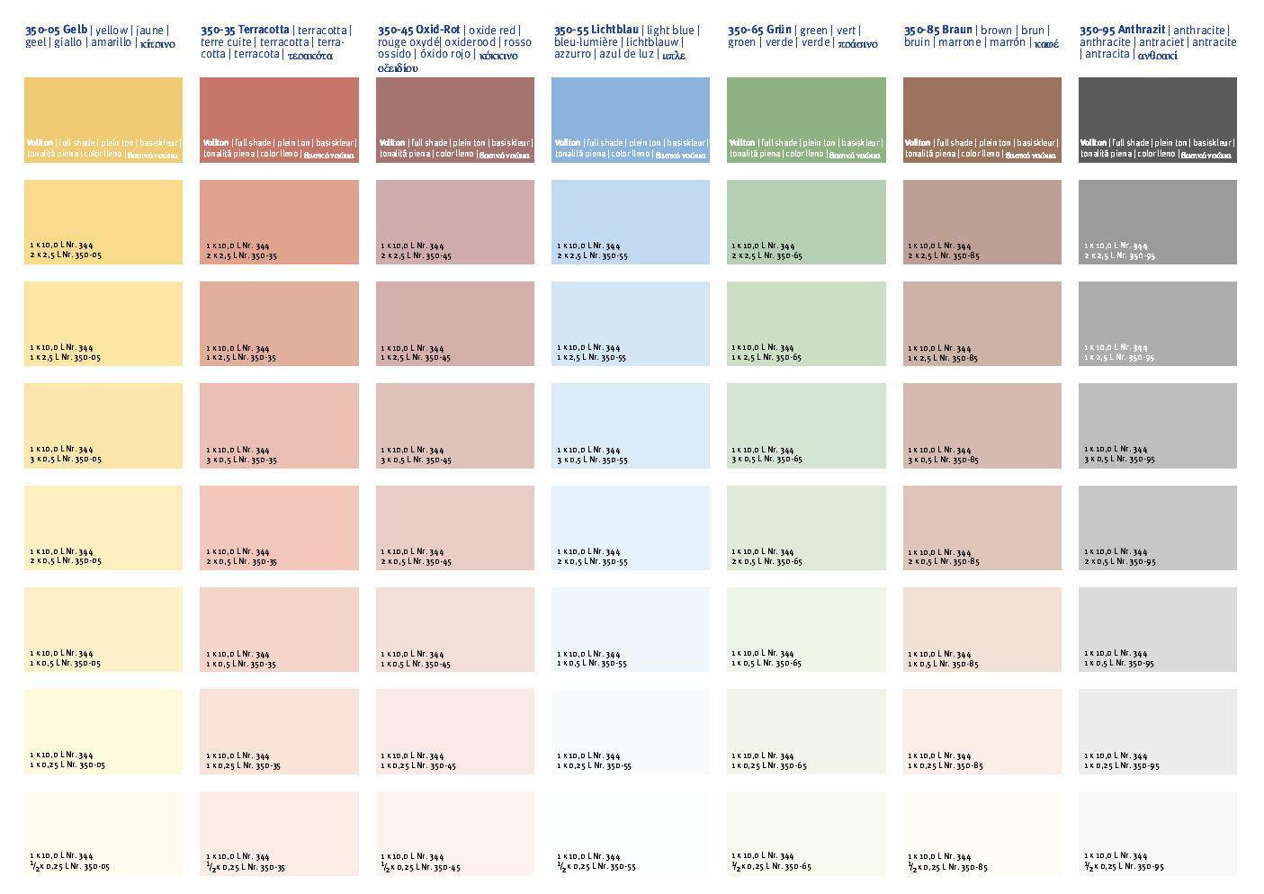vægmaling farver Farvekort for Kulørt Kalkmaling nr. 350 fra Økomaling.dk  vægmaling farver